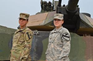 <p>Pfc. Evelyn Gomez, left, and Pfc. Kelley McKeon, are M1 Abrams tank mechanics with 2nd Battalion, 12th Cavalry Regiment, 1st Brigade Combat Team, 1st Cavalry Division, and are currently serving in South Korea.</p>
