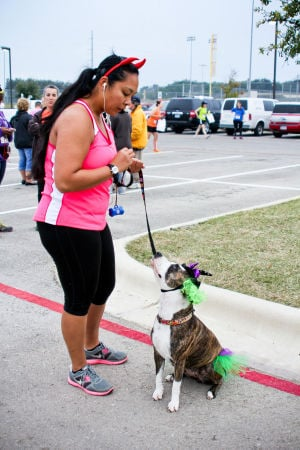 Monster Dash: Mishiella Hensley and her dog, Jasmine, anticipate the start of the Monster Dash 5K on Saturday morning. The event was held to raise money for polio research. - Photo by Jodi Perry | Herald