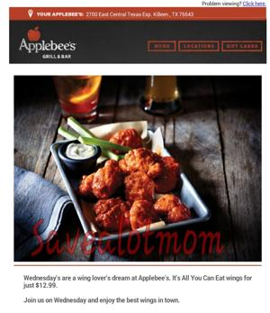 Applebees Wednesday Wings! All You Can Eat!