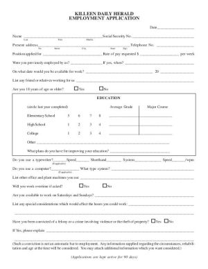 Killeen Daily Herald Employment Application