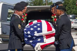 <p>The casket of Staff Sgt. Miguel Angel ColonVasquez is received at St. Joseph's Catholic Church in Killeen Thursday. ColonVasquez was one of nine soldiers who perished in a Fort Hood training accident on June 2.</p>