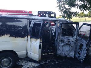 Van catches fire
