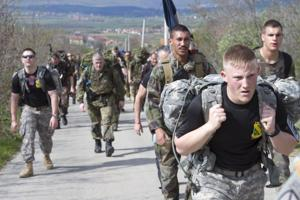 Multinational Soldiers participate in DANCON March