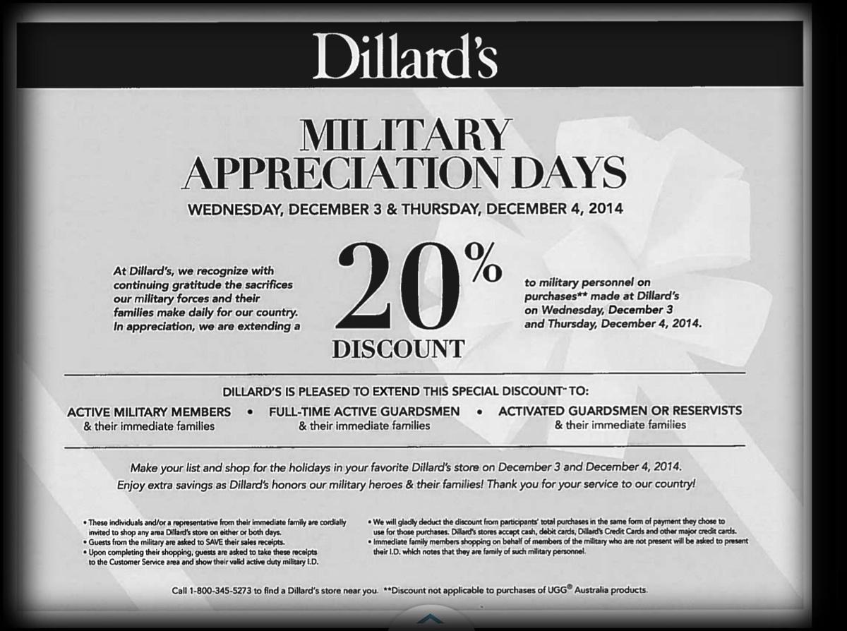 dillard s rare 20% military discount dec 3rd 4th savealotmom 20% military discount at dillard s