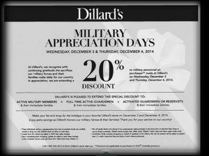 Dillard's RARE 20% Military Discount Dec. 3rd & 4th!