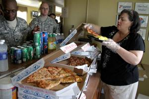 Pizza for lunch at the USO