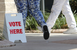 "<p>Area residents walk past a ""Vote Here"" sign Tuesday, March 4, 2014, at the Killeen Senior Center.</p>"
