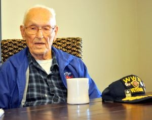 """WWII Vets- Bill Hooten.jpg: """"It was something you had to do. You had to do it for your country. For your friends. Your family. That was true patriotism after Pearl Harbor was attacked."""" Bill Hooten, 97, joined the US Army right after December 7, 1941's Japanese attack on Hawaii. Bryan Correira - Picasa"""