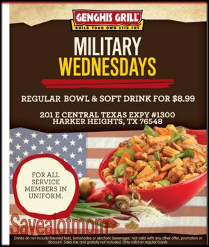 Genghis Military Wednesday! $8.99 for Bowl & Drink!