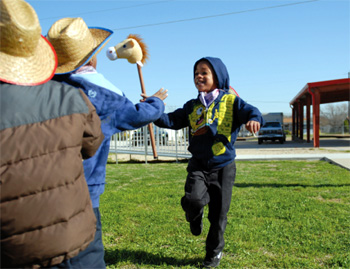 Students learn about Texas history
