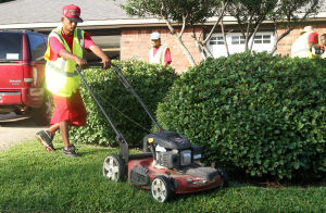 Landscaping Business: Billy D. Rorie, with Central Texas Home and Lawn Transitions, mows a yard Thursday morning on Stillwood Drive in Killeen. - Photo by Herald/MARIANNE LIJEWSKI