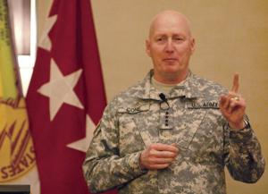<p>Gen. Robert Cone, commander of the United States Army Training and Doctrine Command, speaks during the Fort Hood Chapter of the Association of the United States Army general membership meeting Monday, Jan. 6, 2014, at the Courtyard by Marriott in Killeen.</p>