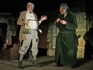 "<p>Howard Horton, left, of Bartlett, as the ghost of Jacob Marley, and Keith McCormack, of Belton, in the role of Ebeneazer Scrooge at dress rehearsal on the Goodnight Amphitheater stage at Salado's Tablerock Festival. Charles Dickens' ""A Christmas Carol"" adapted by Harry Sweet runs this weekend and next weekend.</p>"