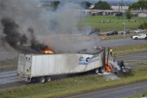 Truck On Fire: A truck is on fire on U.S. Highway 190 in Killeen on Monday. - Photo by Courtesy Photo/Alyssa Garcia Del Solar