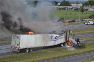 Truck On Fire: A truck is on fire on U.S. Highway 190 in Killeen on Monday. - Courtesy photo/Alyssa Garcia Del Solar