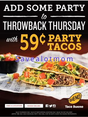 $.59 Party Taco Every Thursday at Taco Bueno!