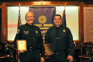 "Officers Of The Year: Harker Heights Police Officer David Haley, left, and Harker Heights Fire Fighter Jacob Cardona were recognized Monday as ""Officers of the Year"" for 2013 by the Killeen Exchange Club. - Jodi Perry 