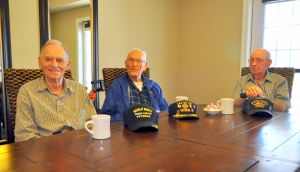 WWII Vets- Three Together.jpg: From left, Bob Paine, 92, Bill Hooten, 97, and Bob Copeland, 87, talk about joining the military after the Japanese attacked Pearl Harbor, Hawaii, on Dec. 7, 1941. - Photo by Picasa