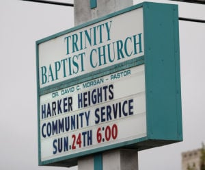 Trinity Baptist Church: A sign at Trinity Baptist Church promotes the upcoming communitywide Thanksgiving service starting at 6 p.m. Sunday. - Herald/CATRINA RAWSON