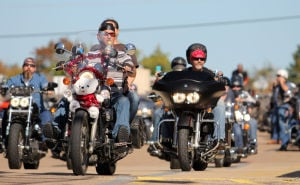 18th Annual Bell County Toy Run: Riders gear up to participate in the 18th annual Bell County Toy Run on Sunday, Nov. 17, 2013, at Fort Hood Harley-Davidson in Harker Heights. - Photo by Herald/CATRINA RAWSON