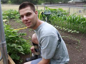 Blind gardener in business