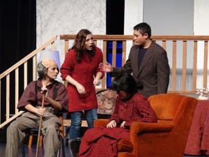 "<p>Tempers start to flare between Nina, Maynard and the Polks in a scene from ""Medium Rare."" The fun kicks into high gear in this two-act comedy as the Polks try to figure out the best thing to do with their elderly house guest.</p>"