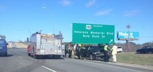 <p>A two-vehicle accident is seen on U.S. Highway 190 near Harker Heights this morning.</p>