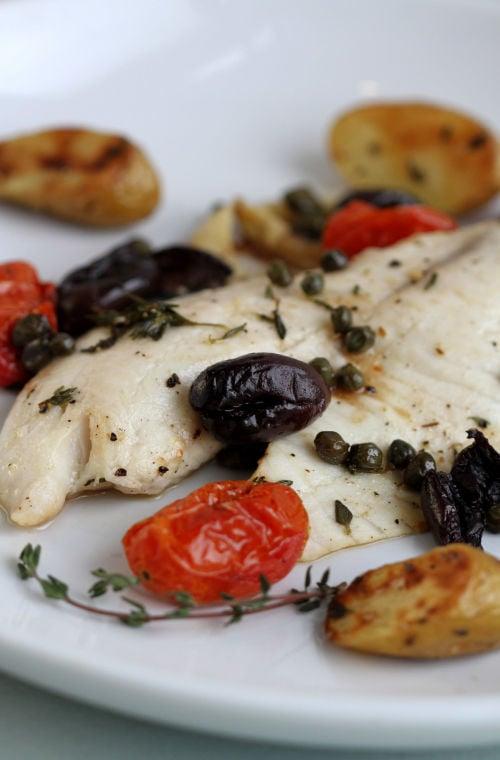 Tilapia with kalamata olives