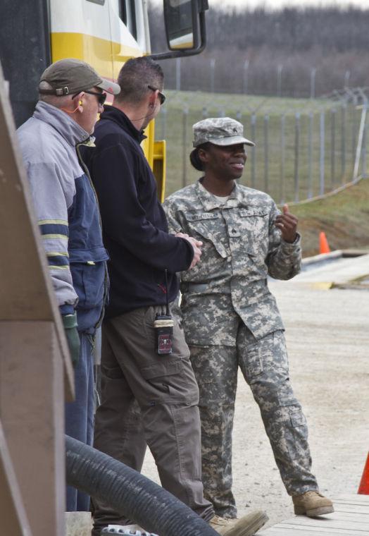 Sgt. Dafney-Pressley at the Camp Bondsteel 'fuel farm'