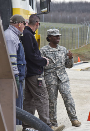 Sgt. Dafney-Pressley at the Camp Bondsteel 'fuel farm'