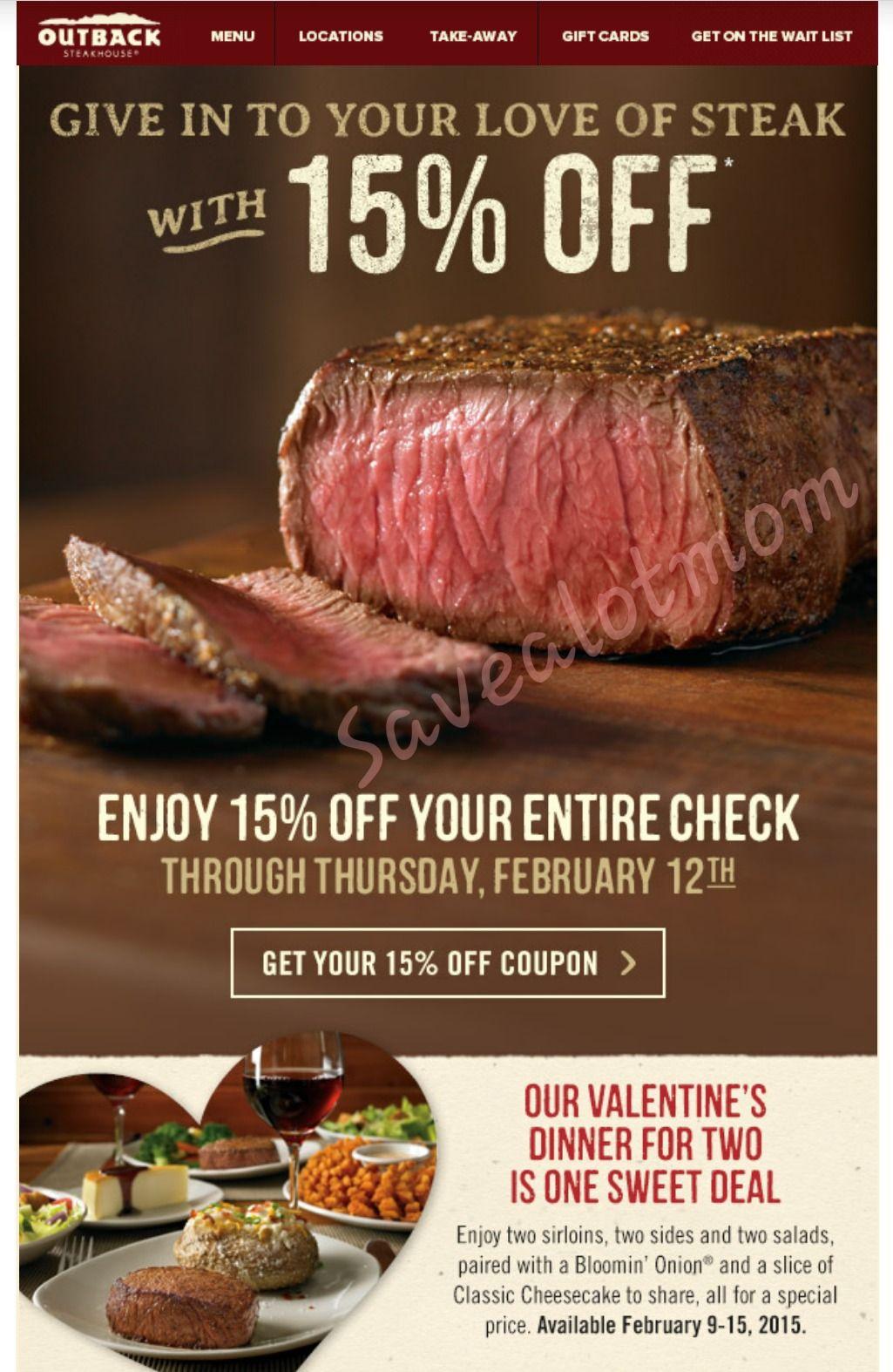 Outback 15% off Coupon