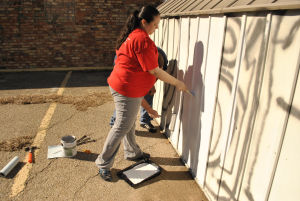 Graffiti: H-E-B volunteer Jennifer Cotter paints over graffiti spray on the side of a shed at Mighty Mart on Tuesday, Feb. 4, 2014. - Azeita Taylor | Herald