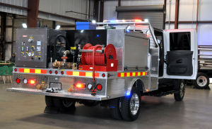 Fire Truck: The Terrastar fire truck is seen at Kryish Government Group's facility in Killeen. - Bryan Correira | Herald