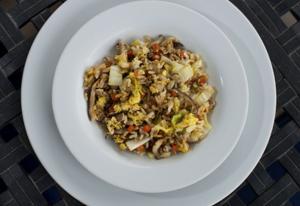 Napa cabbage, shiitake and pork fried rice