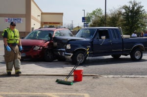 Two-vehicle collision occurs outside of Walgreens