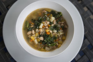 White bean, andouille and kale soup