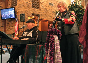 "Spirited: Jonathan Cring, piano and Janet Clazzy, oboe and Yamaha wind machine, the duo known as ""Spirited,"" performed Jan. 25 at First United Methodist Church in Gatesville. - Steve Pettit 