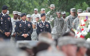13th Sustainment Command Memorial Rededication Ceremony: Attendees listen during the 13th Sustainment Command Memorial Rededication Ceremony, Friday, September 27, 2013 at Fort Hood. - Herald/CATRINA RAWSON