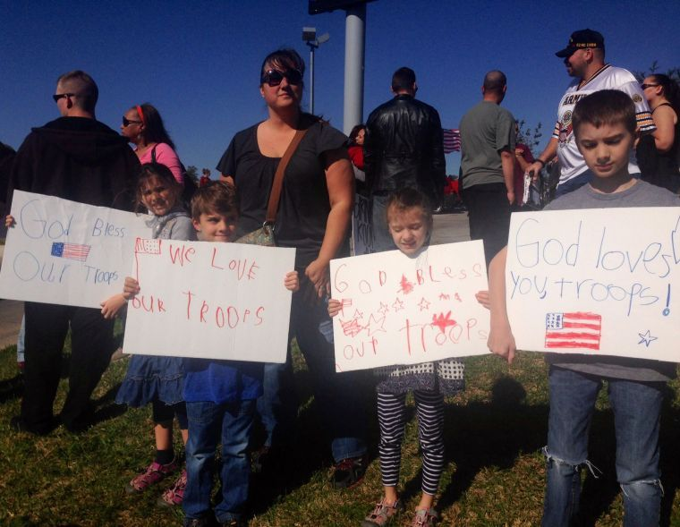 Counter-protesters show support for military