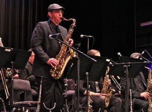 "Temple Jazz Orchestra: Tenor saxophonist Greg Bashara solos on ""Isn't She Lovely"" at Temple Jazz Orchestra's Bill Holman tribute concert Saturday, Nov. 2, 2013, at Temple College. - Steve Pettit 