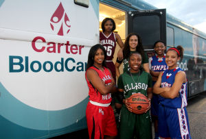 Girls Basketball Preview: Clockwise from upper left, Killeen's Tia Harston, Ellison's Jordanna Porter, Temple's Tyesha Taylor, Temple's Jazzmen Ortiz, Ellison's Francesca Patrick and Harker Heights' Angela Delaney pose outside the Carter BloodCare bus' stop in Harker Heights on Tuesday. - Photo by Herald/CATRINA RAWSON