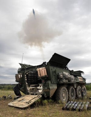 Live Fire Excercise003.jpg: A mortar round is fired during a comprehensive live fire exercise with troopers from the 3rd Cavalry Regiment Friday morning at Fort Hood. - Herald/Jaime Villanueva