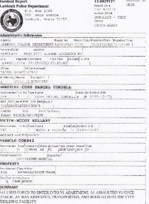 Daniel Cobb arrest report