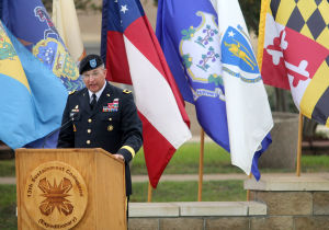 13th Sustainment Command Memorial Rededication Ceremony: Brigadier Gen. Clark LeMasters Jr., commander of the 13th Sustainment Command, speaks during the 13th Sustainment Command Memorial Rededication Ceremony, Friday, September 27, 2013 at Fort Hood. - Herald/CATRINA RAWSON