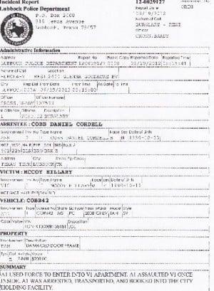 Daniel Cobb Arrest Report