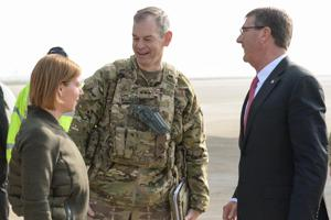 Lt. Gen Sean MacFarland greets the SD and his wife.