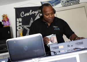Stan The Music Man: DJ Stanley Davis mixes music in his garage Thursday afternoon in Copperas Cove. - Jaime Villanueva | Herald