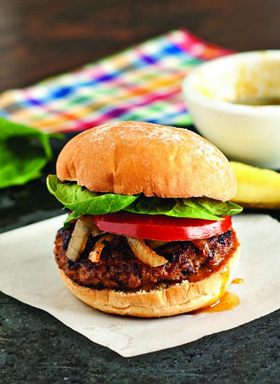Spiced pork and apple burger with maple Dijon