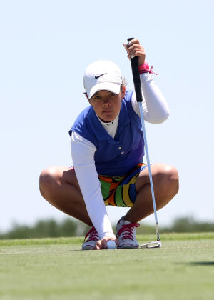 Class 3A State Golf Championships: Lampasas' Morgan Rogers lines up her putt during round two of the Class 3A Girls State Golf Championship on Friday, May 3 at the Jimmy Clay Golf Course in Austin. Rogers finished 7th with a score of 168.  - Photo by Herald/TJ MAXWELL