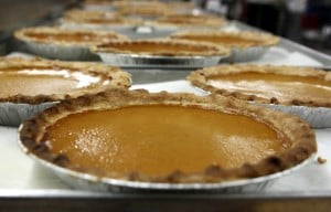 CTC Running Of The Pies: Fresh-baked pumpkin pies line a table in the kitchen at Central Texas College's culinary arts department on Monday. The CTC Culinary/Hospitality Arts Club is baking 108 pre-ordered pies as part of their annual